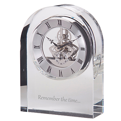Dartington Crystal Personalised Curve Clear Clock, Gabriola Font