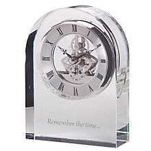 Buy Dartington Crystal Personalised Curve Clear Clock, Gabriola Font Online at johnlewis.com