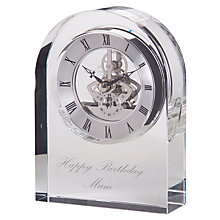 Buy Dartington Crystal Personalised Curve Clear Clock, Palace Script Font Online at johnlewis.com