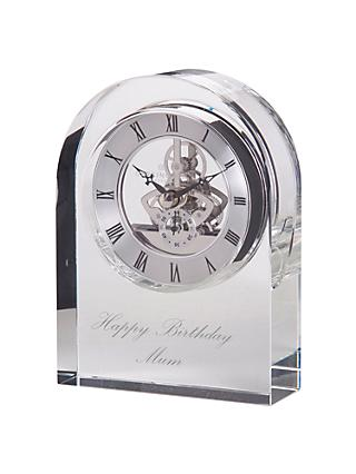 Dartington Crystal Personalised Curve Clear Clock, Palace Script Font