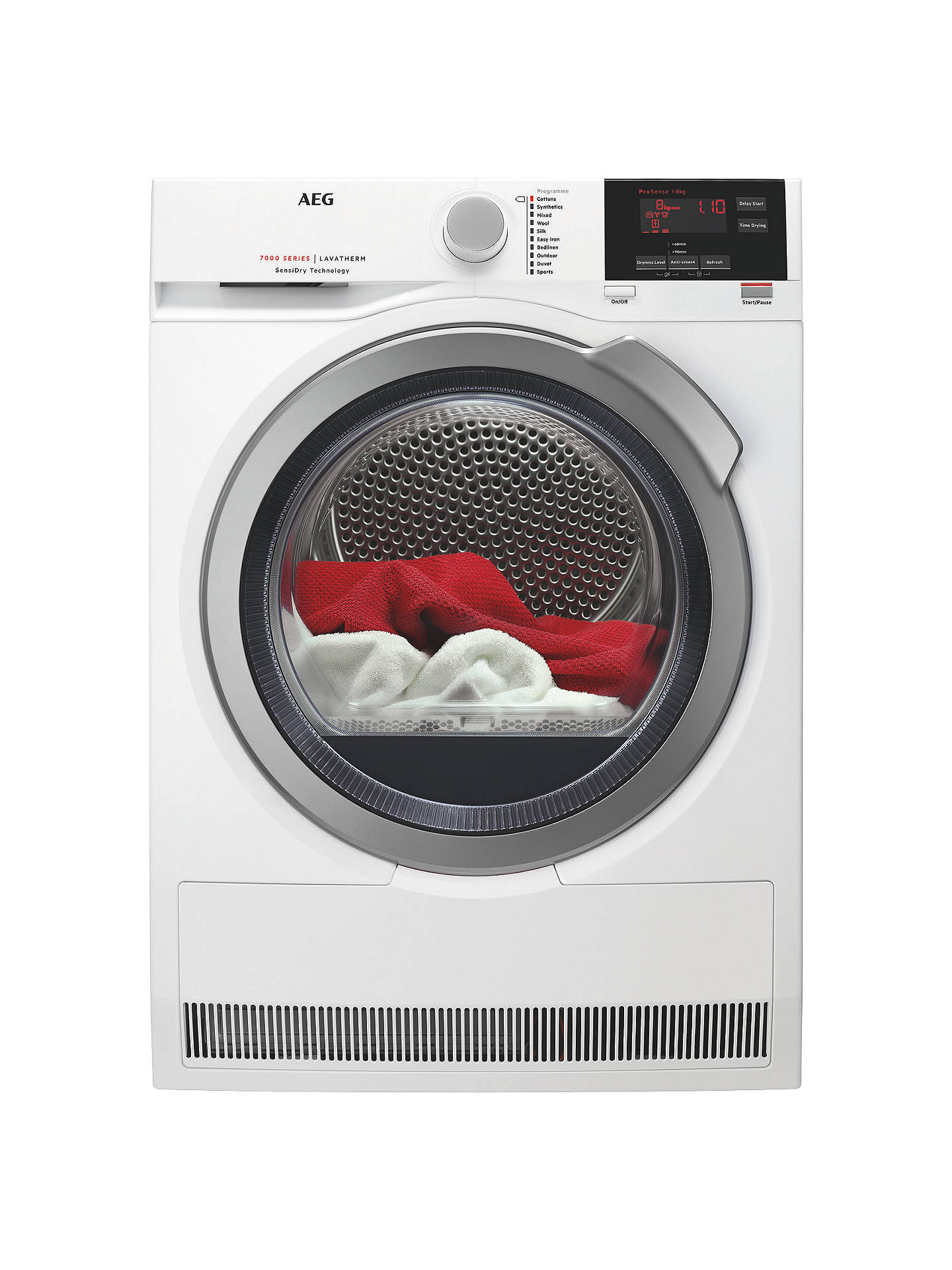 BuyAEG T7DBG832R Heat Pump Tumble Dryer, 8kg Load, A+ Energy Rating, White Online at johnlewis.com