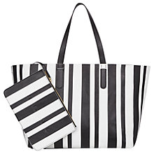 Buy Gerard Darel Simple 2 Rayé Leather Tote Bag, Black Online at johnlewis.com