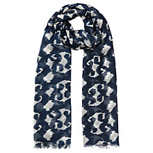 Buy East Smudged Animal Print Scarf, Navy Online at johnlewis.com