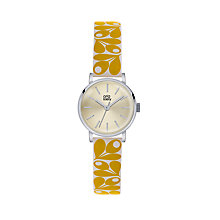 Buy Orla Kiely OK2037 Patricia Leather Strap Watch, Yellow/Pale Gold Online at johnlewis.com