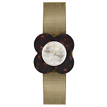 Buy Orla Kiely OK4030 Poppy Mesh Bracelet Strap Watch, Gold/Cream Online at johnlewis.com
