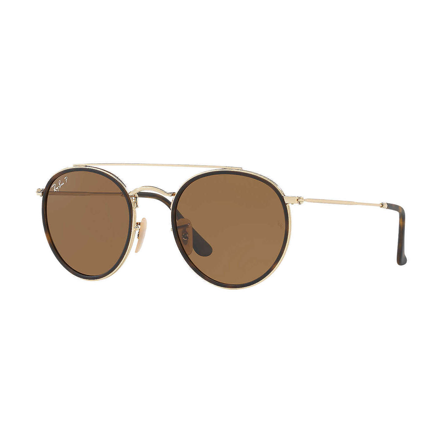 BuyRay-Ban RB3647N Polarised Double Bridge Round Sunglasses, Tortoise/Brown Online at johnlewis.com