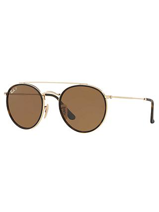 Ray-Ban RB3647N Polarised Double Bridge Round Sunglasses