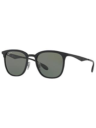 Ray-Ban RB4278 Polarised Square Sunglasses, Matte Black/Grey
