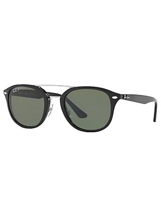 Ray-Ban RB2183 Polarised Square Sunglasses, Black/Dark Green