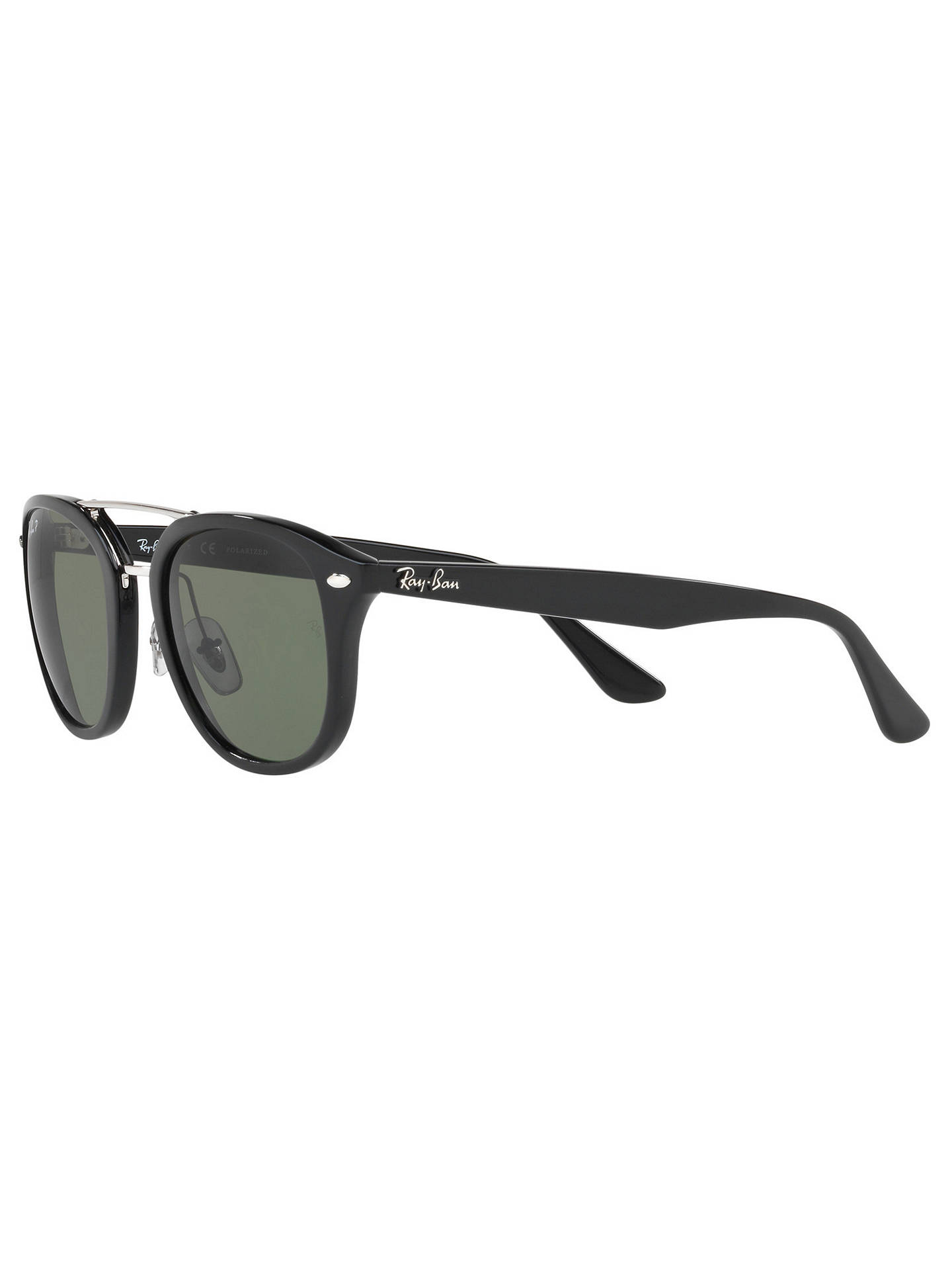 BuyRay-Ban RB2183 Polarised Square Sunglasses, Black/Dark Green Online at johnlewis.com