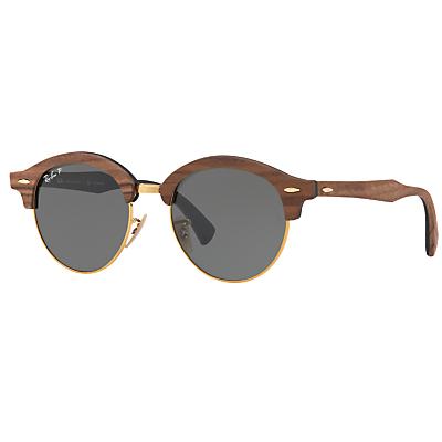 Ray-Ban RB4246M Clubround Wood Polarised Round Sunglasses, Brown/Dark Green thumbnail