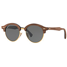 Buy Ray-Ban RB4246M Clubround Wood Polarised Round Sunglasses, Brown/Dark Green Online at johnlewis.com
