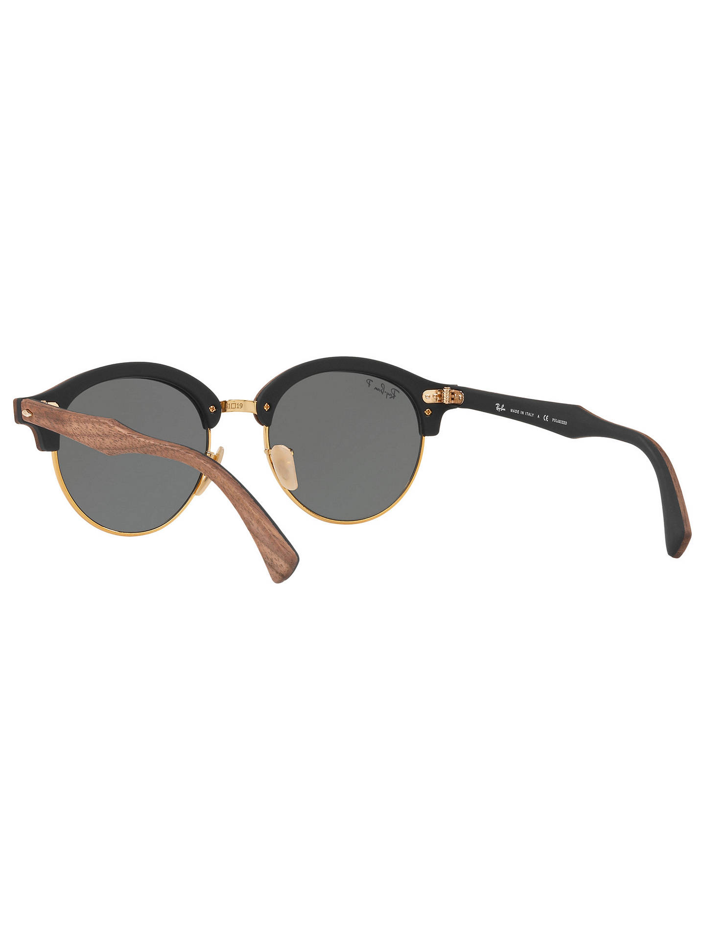 BuyRay-Ban RB4246M Clubround Wood Polarised Round Sunglasses, Brown/Dark Green Online at johnlewis.com
