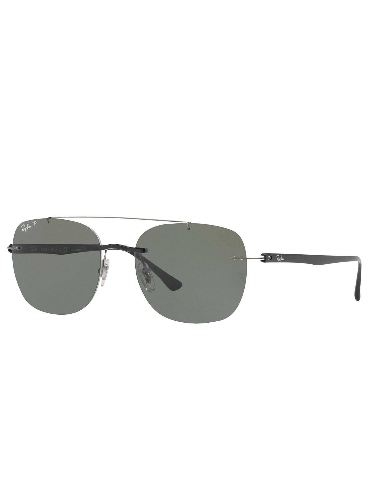 BuyRay-Ban RB4280 Polarised Square Sunglasses, Silver/Grey Online at johnlewis.com