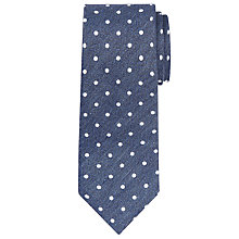 Buy John Lewis Chambray Spotted Linen-Silk Tie, Mid Blue Online at johnlewis.com