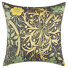 Buy Morris & Co Seaweed Cushion, Yellow Online at johnlewis.com