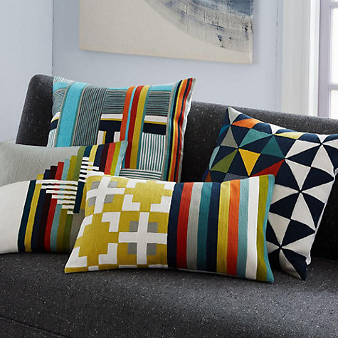 Buy west elm Wallace Sewell Blocks and Stripes Crewel Cushion, Multi Online at johnlewis.com