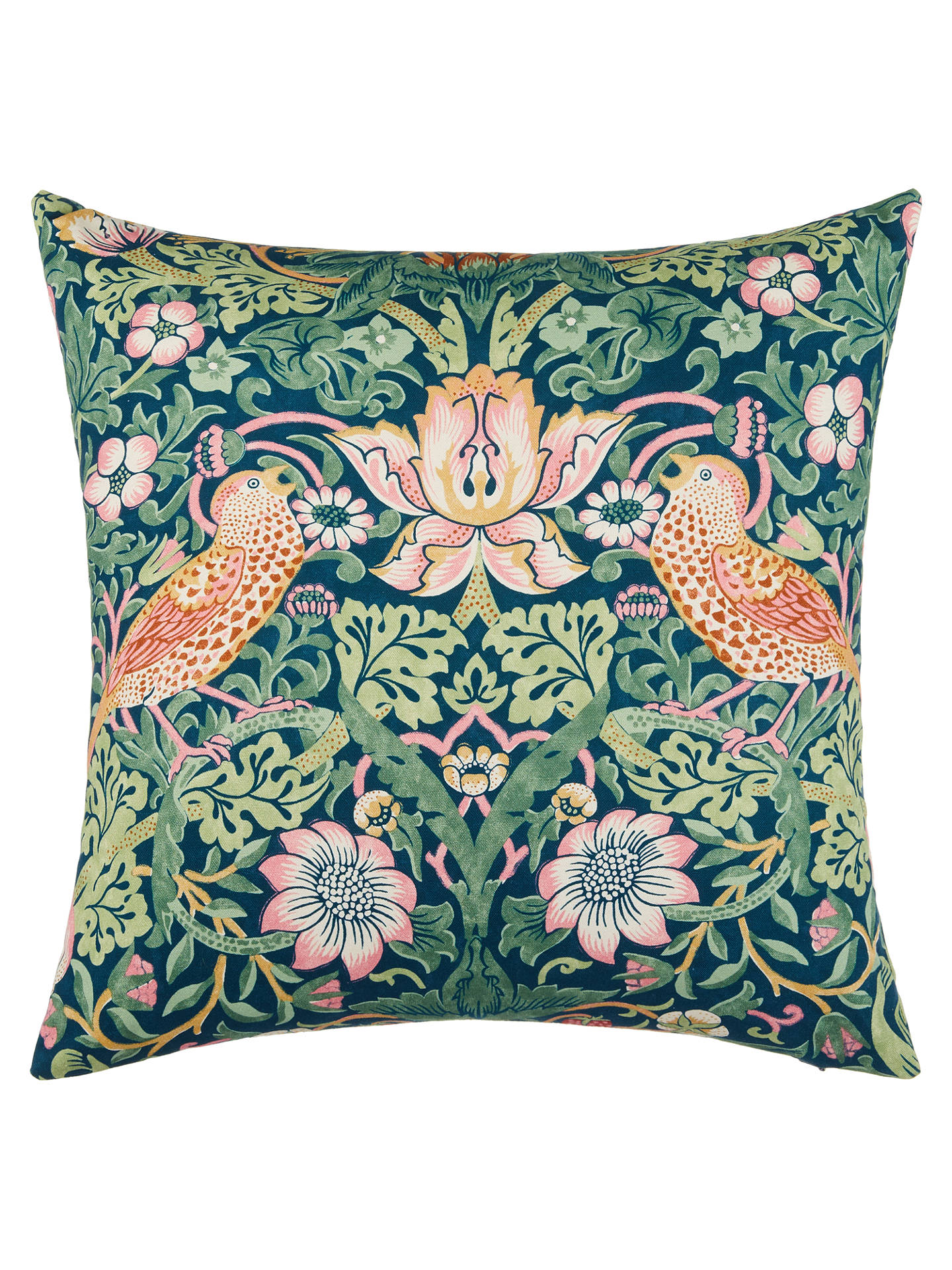 Buy Morris & Co. Strawberry Thief Cushion, Bright Online at johnlewis.com