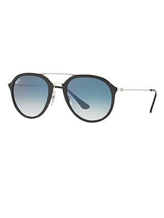 Ray-Ban RB4253 Aviator Sunglasses, Black/Blue Gradient