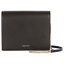Buy Karen Millen Leather Fold Over Clutch Bag, Black Online at johnlewis.com