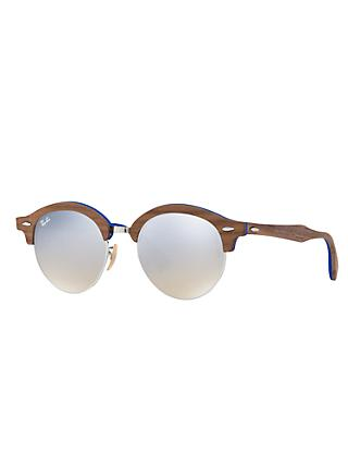 Ray-Ban RB4246M Clubround Wood Round Sunglasses, Brown/Silver Gradient Flash