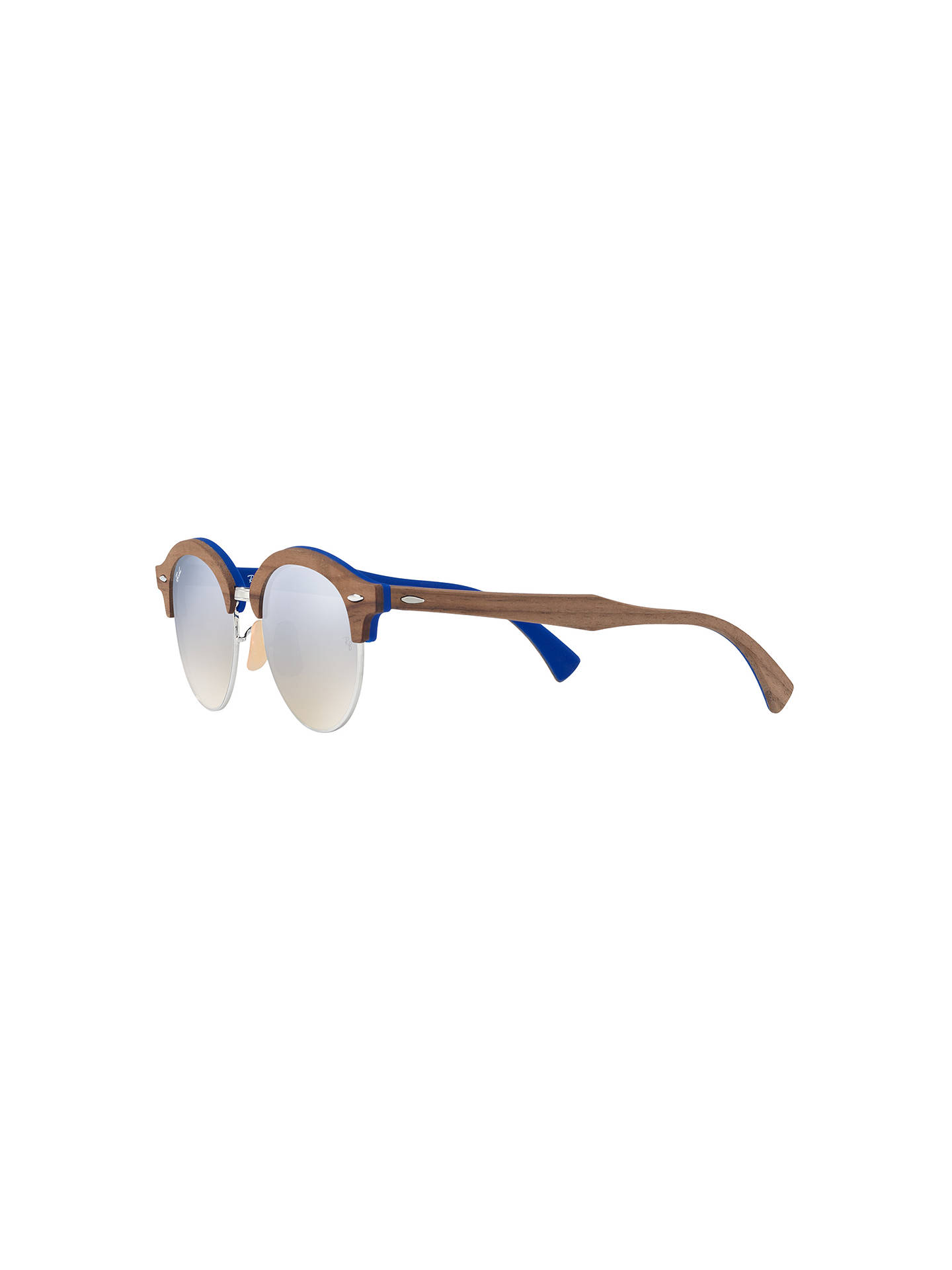 BuyRay-Ban RB4246M Clubround Wood Round Sunglasses, Brown/Silver Gradient Flash Online at johnlewis.com