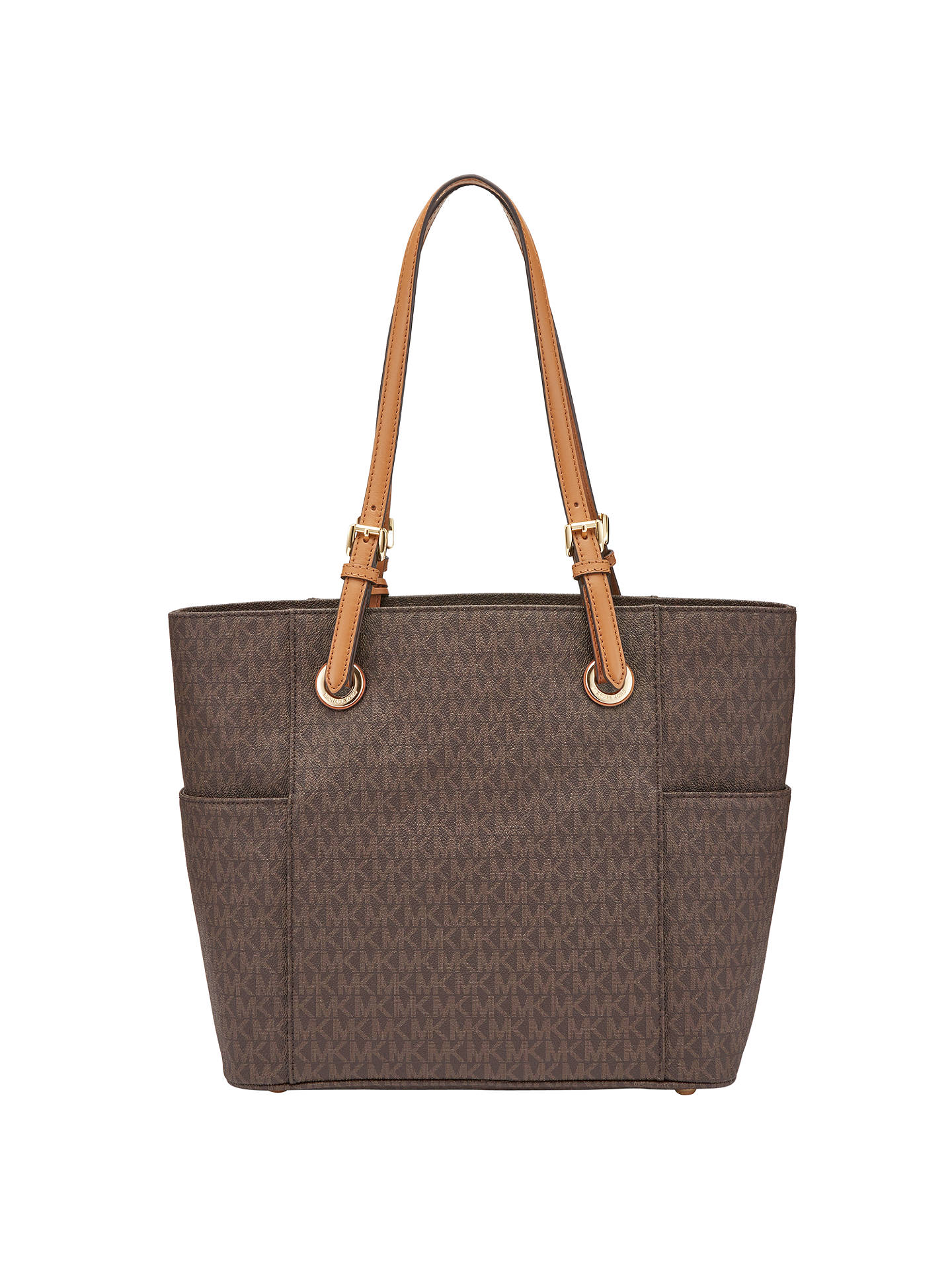 2cadac1bc4d7 ... Buy MICHAEL Michael Kors Jet Set Signature Tote Bag, Brown Online at  johnlewis.com ...