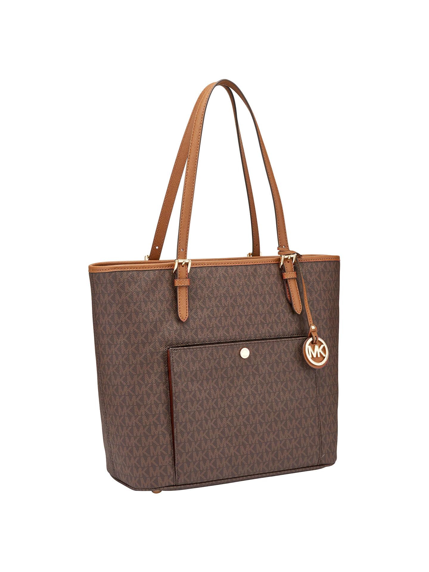 Michael Kors Jet Set Item Leather Large Snap Pocket Tote Bag Brown Online At