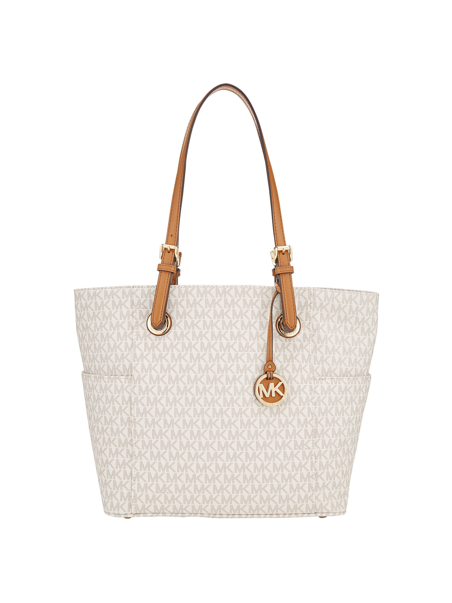 Michael Kors Jet Set Signature Tote Bag Vanilla Online At Johnlewis
