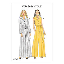 Buy Vogue Very Easy Women's Petite Button-Up Jumpsuits Sewing Pattern, 9245 Online at johnlewis.com