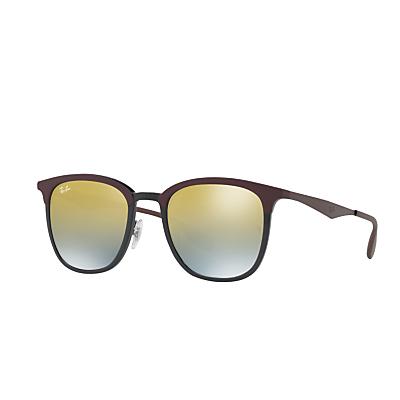 Ray-Ban RB4278 Square Sunglasses, Matte Black/Mirror Yellow