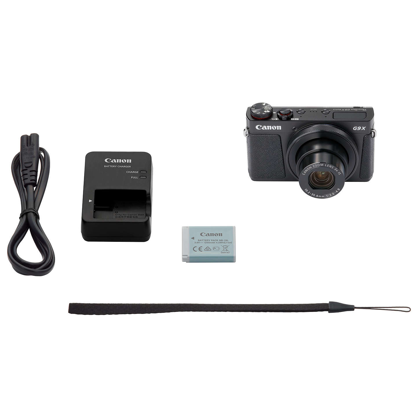 "BuyCanon PowerShot G9 X Mark II Digital Camera, 1080p, 20MP, 3x Optical Zoom, OIS, Bluetooth, NFC, Wi-Fi, 3"" Touch Screen, Black Online at johnlewis.com"