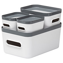 Buy Orthex Smartstore Compact Storage Box, Set of 4, Grey/White Online at johnlewis.com