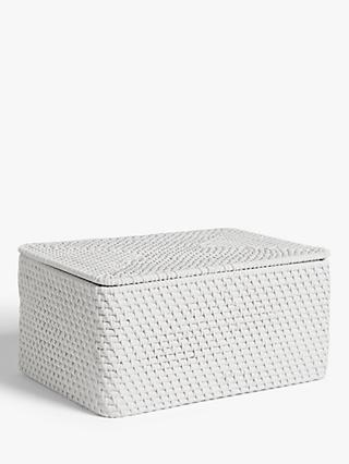 Croft Collection Rattan Lidded Storage Basket, White