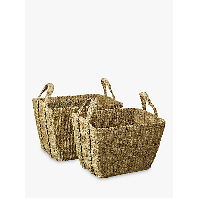 John Lewis Seagrass Twist Handle Basket, Set of 2