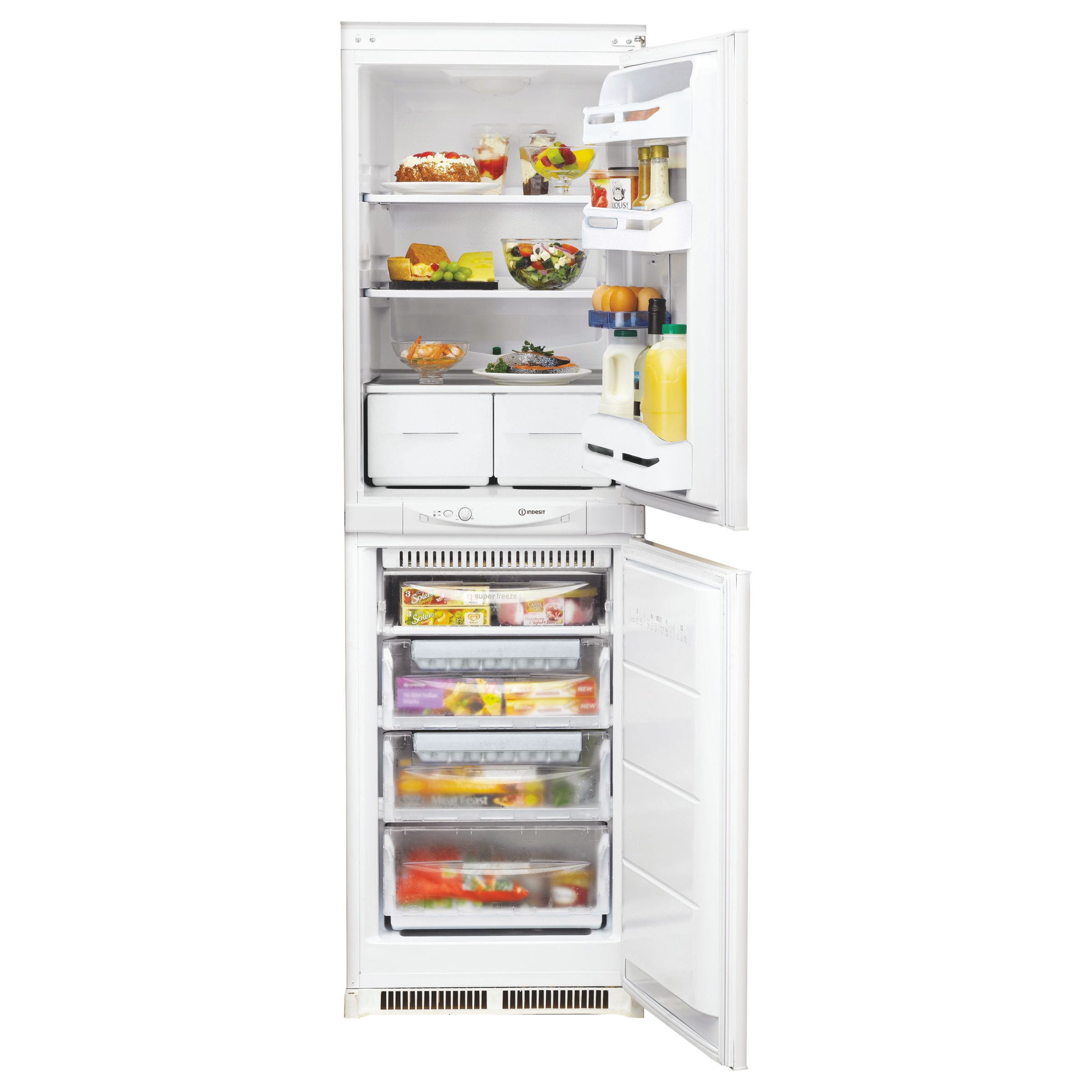 Indesit INC325FF Integrated Fridge Freezer A+ Energy Rating, 54cm Wide,  White at John Lewis & Partners