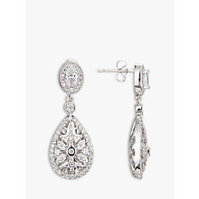 Buy Ivory & Co. Detailed Cubic Zirconia Pave Teardrop Drop Earrings, Silver Online at johnlewis.com