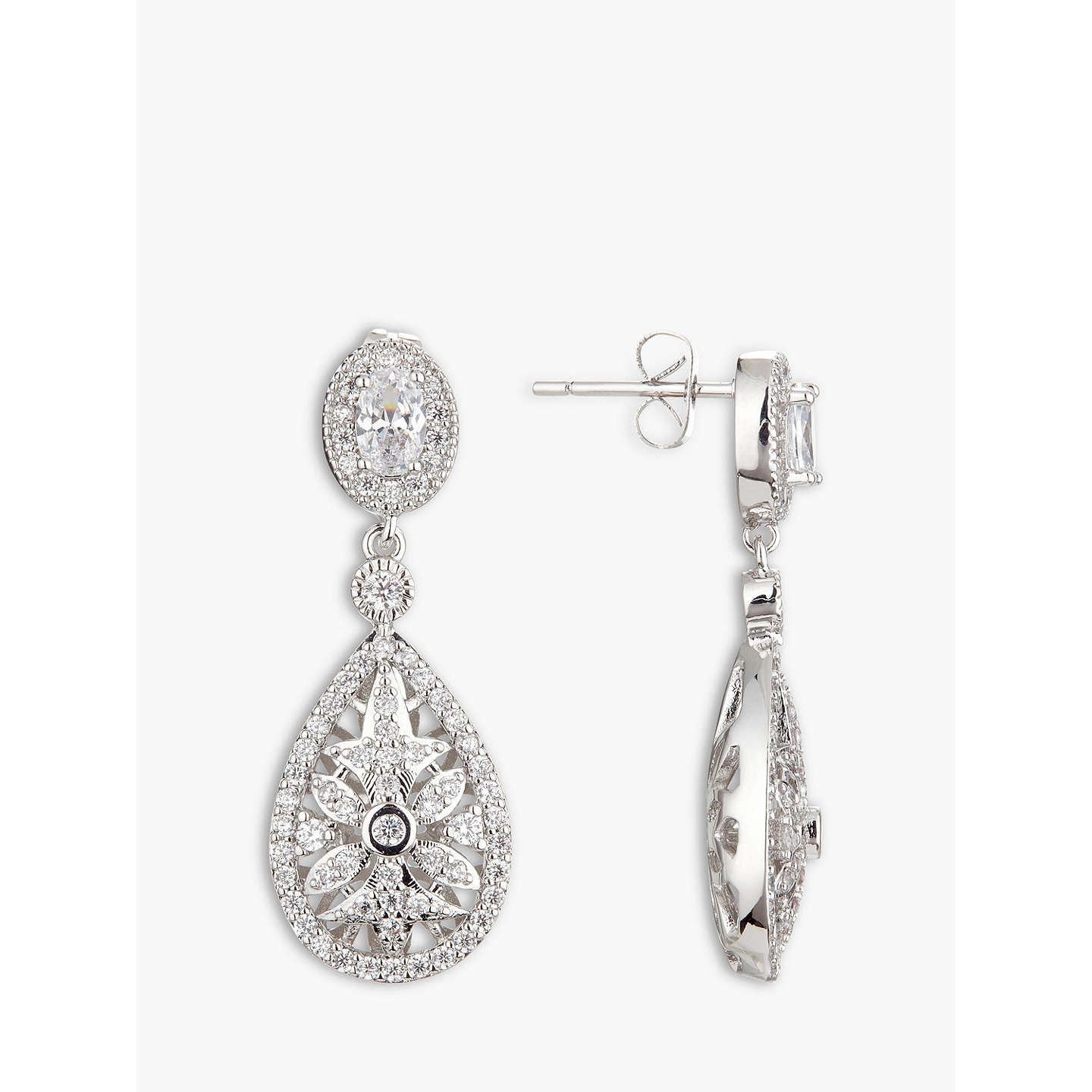 BuyIvory & Co. Stellar Detailed Cubic Zirconia Pave Teardrop Drop Earrings, Silver Online at johnlewis.com