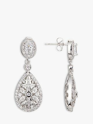 Ivory & Co. Stellar Detailed Cubic Zirconia Pave Teardrop Drop Earrings, Silver