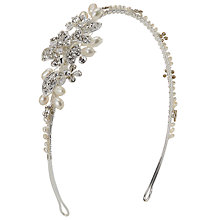 Buy Ivory & Co. Rosepetal Cubic Zirconia Pave and Freshwater Pearl Side Headpiece, Silver Online at johnlewis.com