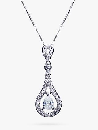 Ivory & Co. Timeless Cubic Zirconia Pave Teardrop Pendant Necklace, Silver