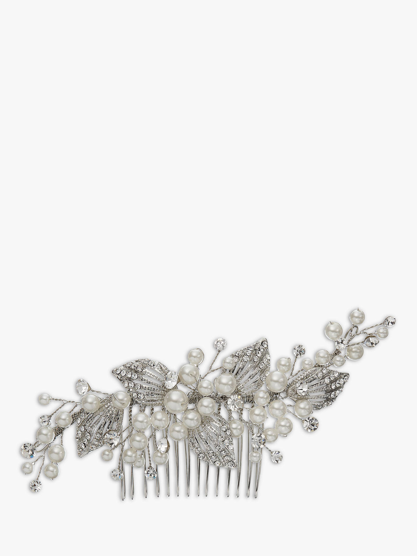 ivory & co. constellation faux pearl and cubic zirconia pave leaf hair comb, silver