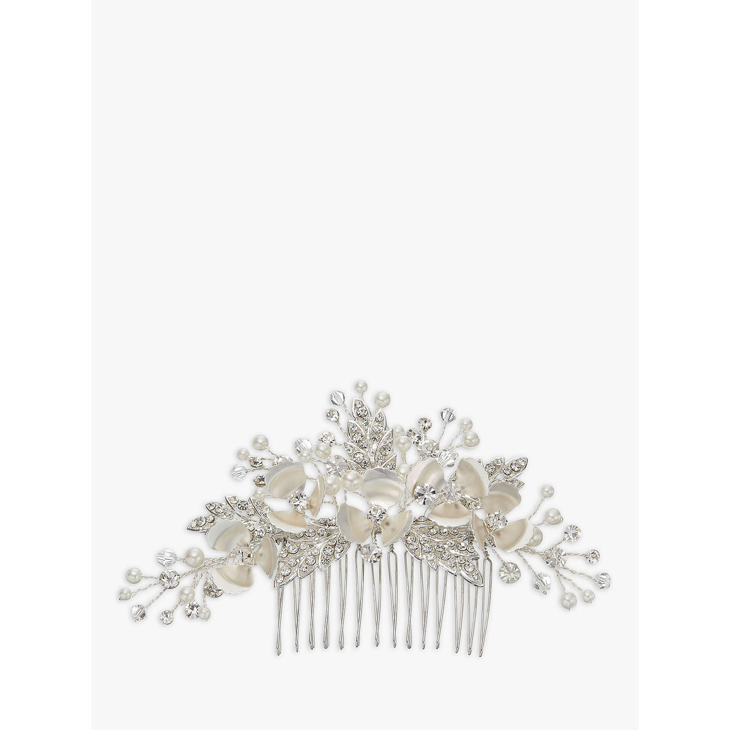ivory & co. passionflower crystal and faux pearl flower hair slide