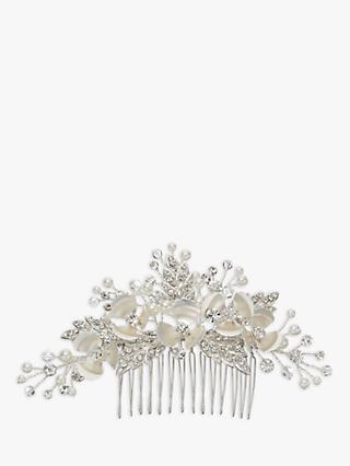 Ivory & Co. Passionflower Crystal and Faux Pearl Flower Hair Slide, Silver