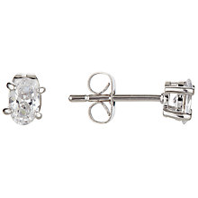 Buy Ivory & Co. Oval Solitaire Cubic Zirconia Stud Earrings, Clear Online at johnlewis.com
