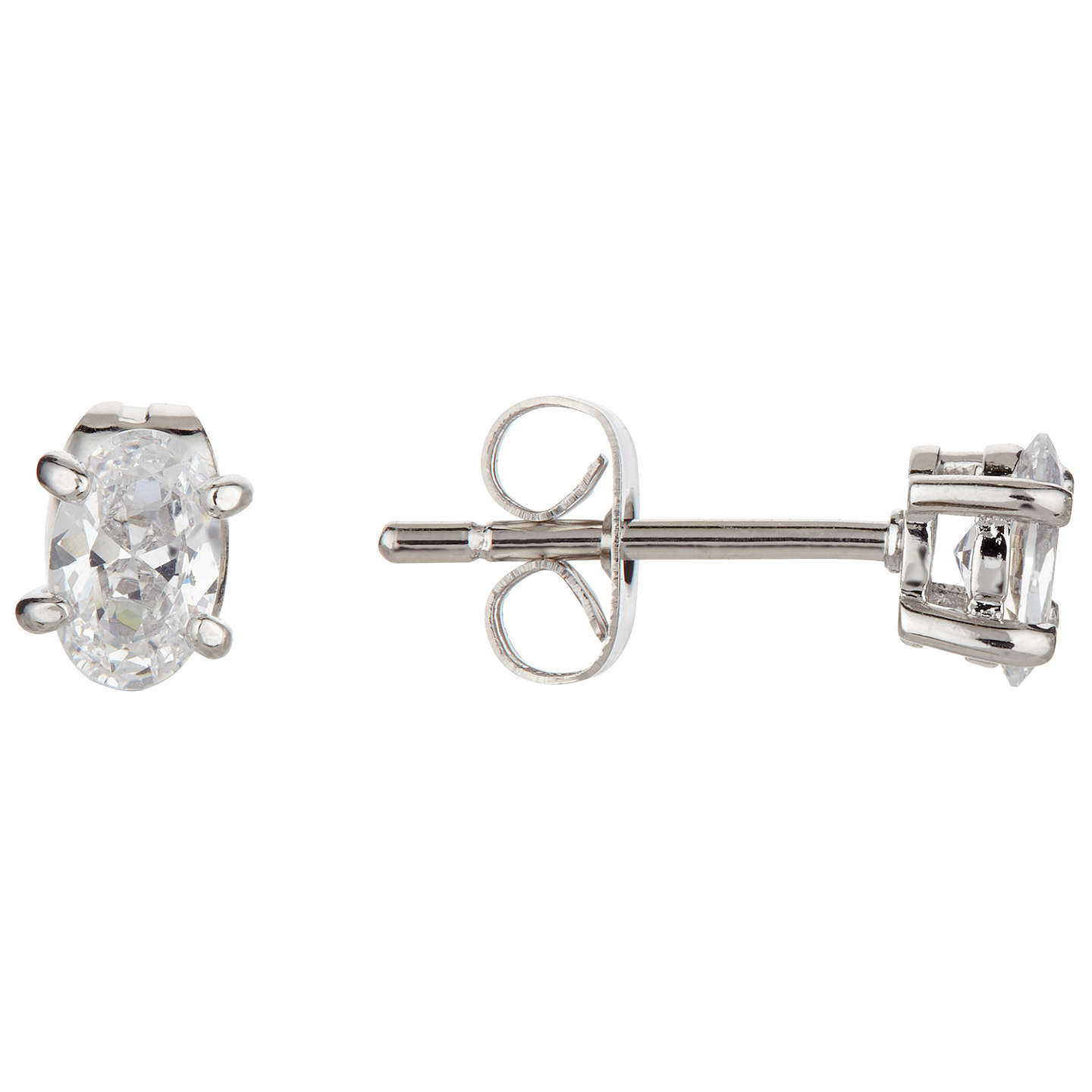 BuyIvory & Co. Epsom Oval Solitaire Cubic Zirconia Stud Earrings, Clear Online at johnlewis.com