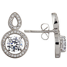 Buy Ivory & Co. Heritage Round Cubic Zirconia Pave Drop Earrings, Silver Online at johnlewis.com