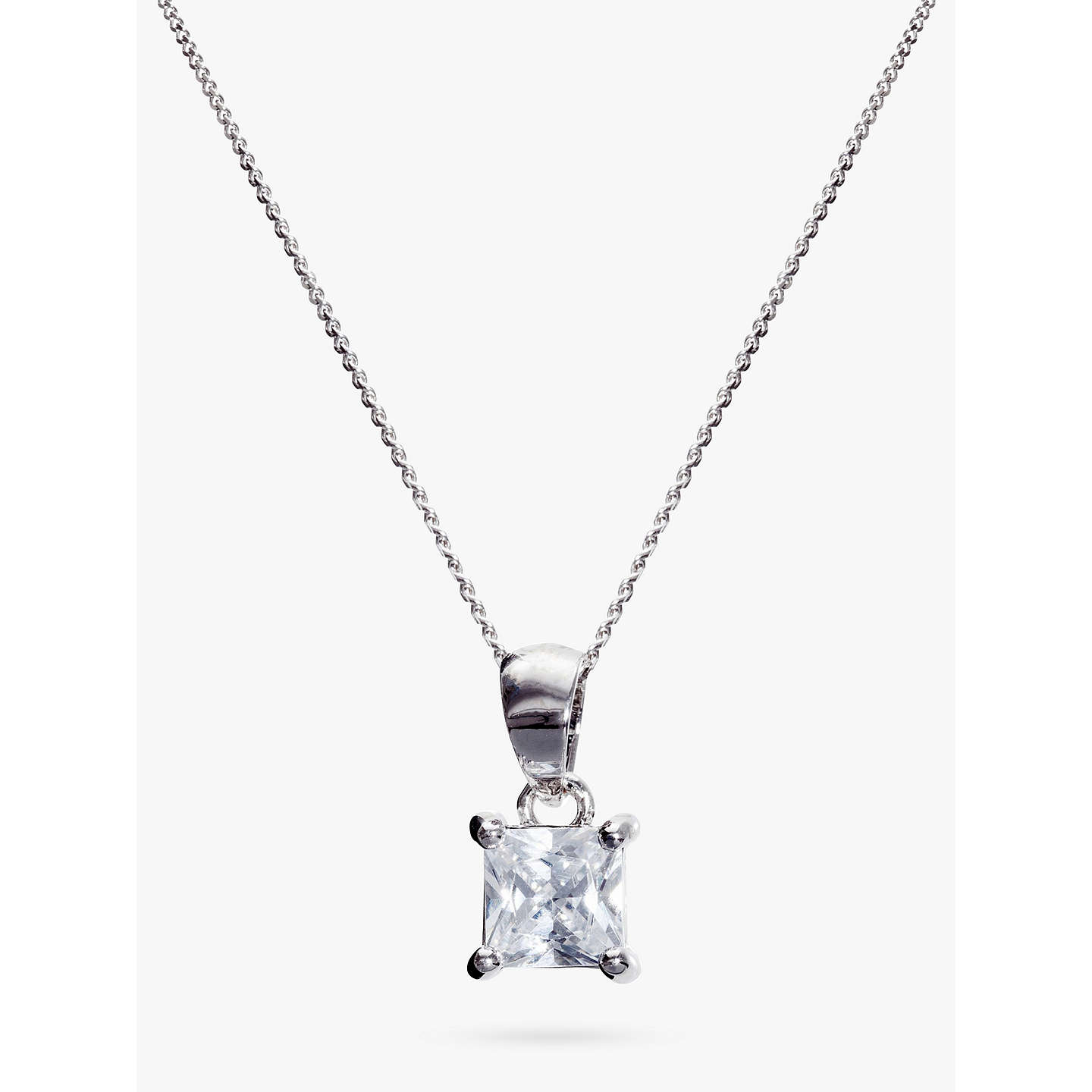 in silver with sterling cubic square finish necklace zirconia crislu platinum