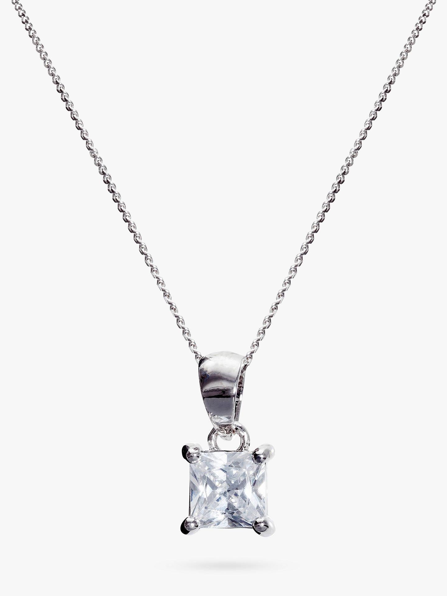 7d4be1ce41e6a Ivory & Co. Princess Solitaire Cubic Zirconia Pendant Necklace, Silver/Clear