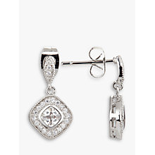 Buy Ivory & Co. Regent Square Cubic Zirconia Pave Drop Earrings, Silver Online at johnlewis.com
